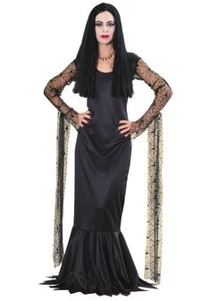Morticia Addams Costume Morticia Addams Costume, Addams Family Morticia, Scary Halloween Costumes, Adult Costumes, Addams Family Costumes, Satin Gown, Costume Shop, Halloween Accessories, Lace Sleeves