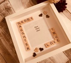 Personalised gift for dad, daddy Scrabble box Frame Diy Birthday Gifts For Sister, Baby Fathers Day Gift, Fathers Day Frames, Fathers Day Presents, Daddy Gifts, Gifts For Father, Diy Father's Day Gifts From Daughter, Scrabble Letter Crafts, Scrabble Wall Art