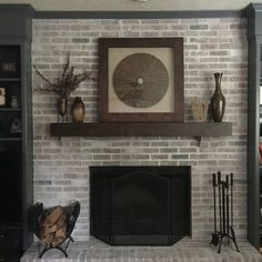 The Modern Farmhouse mantel shelf is another unique piece in the popular line of real wood décor from Dogberry collections. Constructed from real Alder planks, this simple yet elegant piece fits perfectly in a modern or country chic setting. Use as a fireplace mantel or a floating shelf. White Wash Brick Fireplace, Fireplace Update, Paint Fireplace, Brick Fireplace Makeover, Fireplace Shelves, Home Fireplace, Fireplace Design, Mantel Shelf, Fireplace Ideas