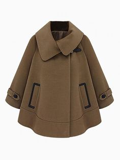 Cape Coat With Leather Look Pocket Detail - Choies.com