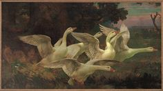 Joseph Thurman Pearson Jr.(1875-1951) Startled Geese, c.1913 via Hare in Meadow FB