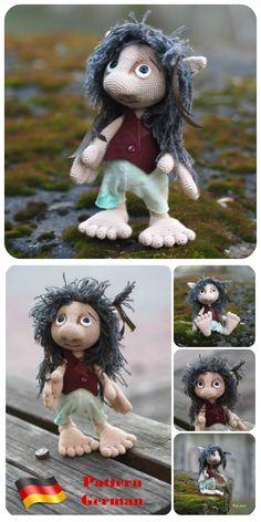 #ebook #GERMAN #crochet #tutorial  #Hobbit, #Goblin #doll, #toy #elf, #amigurumi #petslair #Deutsche #häkeln #Märchenperson, #Hausgeist