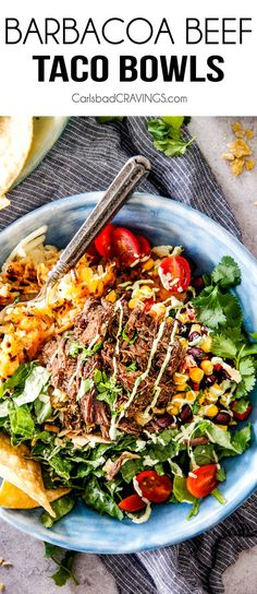 TheseBarbacoaBeef Taco Bowls are SO addicting! They are an explosion of flavor and texture in every juicy, crispy bite and make a fabulous prep ahead dinner or Game Day taco bowl bar favorite!