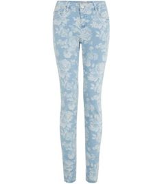 New Look: Blue Floral Print Supersoft Skinny Jeans