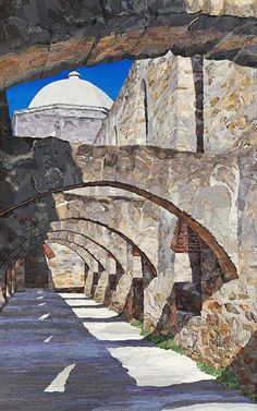 """Mission San Jose"" - sewn fabric collage by Merle Axelerad; ""Each of these textile art pieces are created by sewing thousands of fabric pieces together collage style to create the final fabric collage. Unlike traditional collage, Merle Axelrad uses no adhesives in creating her landscapes."" http://axelradart.com/html/fabric-art-gallery.html#.VGhP7Sh4WDR"