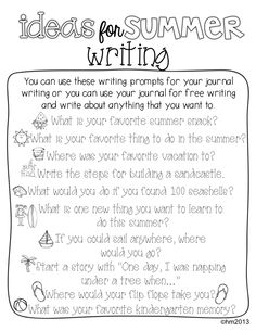 Ideas for summer writing!