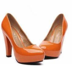 Mancienne Patent Platform Pumps in orange from YesStyle $25.60