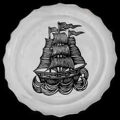 Large Ship Plate--Astier de Villatte
