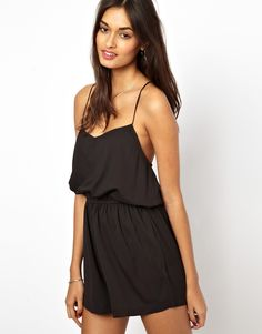 $41, Black Playsuit: Glamorous Cami Strap Playsuit. Sold by Asos. Click for more info: http://lookastic.com/women/shop_items/48852/redirect