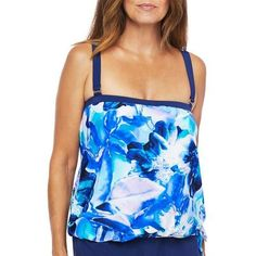 Swimwear by Maxine of Hollywood provides a style-right design & a look that complements. This tankini top features a painted floral print a blouson styling with a tie accent and a high back detail. Length measures approximately 23 inches.  - Tankini Top - Ideas of Tankini Top #TankiniTop Tankini Top, Floral Prints, Hollywood, Tie, Detail, Swimwear, Design, Women, Ideas