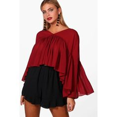Boohoo Laura Chiffon Ruffle Oversized Blouse ($15) ❤ liked on Polyvore featuring tops, blouses, off the shoulder tops, red crop top, crop top, chiffon kimono and chiffon blouse