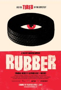 "Ridiculous movie alert. So ridiculous that I'm curious to watch it...just in good B movie kind of fun///Rubber- the movie. ""When Robert, a tire, discovers his destructive telepathic powers, he soon sets his sights on a desert town; in particular, a mysterious woman becomes his obsession."