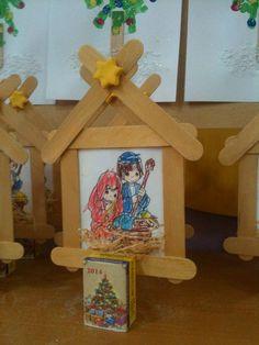Christmas kids craft.  Giannakaki Maria Christmas Gifts For Kids, Christmas Ideas, Christmas Crafts, Daycare Ideas, School Ideas, Crafts For Kids, Arts And Crafts, Sunday School, Ice Cream