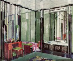 1929 Vitrolite Deco Bathroom    Published in American Home. Art Deco style was still rare in most middle class home magazines during 1929. Most people tended to favor the traditional or revival styles ... this ultra modern look was favored by design aficionados.