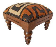 Boho Kuba Cloth & Wood Footstool on Chairish.com