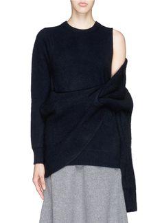 TOGA ARCHIVES - Asymmetric wrap layer wool sweater | Blue Sweater Knitwear | Womenswear | Lane Crawford - Shop Designer Brands Online