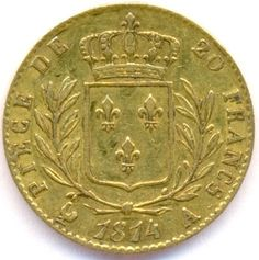 French 20 Antique golden coin 1814