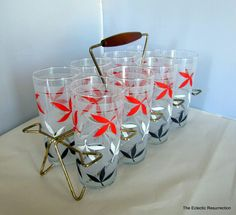 Vintage 1950s Glass Set with Caddy-Libbey-Mid-Century- High Ball Glasses-Cocktails.