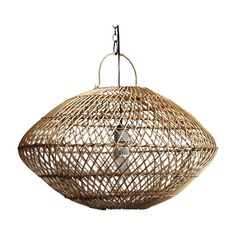 Architectural and decidedly boho, this medium-sized pendant lantern is handmade of raw wicker. Basket Lighting, Bar Lighting, Pendant Lighting, Wicker Pendant Light, Lantern Pendant, Media Furniture, Furniture Design, Navajo Style, Black Ceiling