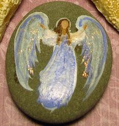 Hand Painted ANGEL Rock for your Pocket Good Luck by Breten Bryden, BrydenArt.com