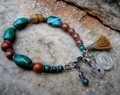 Boho Bracelet /  Bohemian Jewelry / Bohemian Bracelet / Yoga Bracelet / Woman Bracelet / Azurite / Crysocolla / Tassel Bracelet