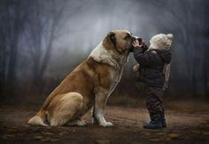 маленький мальчик и большая собака - их искренняя дружба