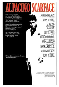 Scarface (1983) | Directed by: Brian De Palma | Starring: Al Pacino, Michelle Pfeiffer, Mary Elizabeth Mastrantonio, Robert Loggia, F. Murray Abraham, Mark Margolis | #Movie #MoviePoster #Film #Crime #Gangster