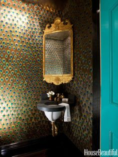 Powder Room, miles redd, brooklyn townhouse An antique Georgian mirror seems to float in a corner of the powder room, against the custom peacock-feather wallpaper. Henry sink & faucets by Waterworks. Benjamin Moore Impervex in Gulf Shores on the door. Peacock Wallpaper, Of Wallpaper, Metallic Wallpaper, Bathroom Wallpaper, Wallpaper Toilet, Custom Wallpaper, Pattern Wallpaper, Wc Decoration, Wall Decorations