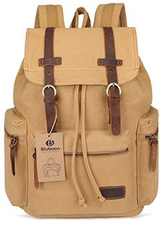 0a97414d48 BLUBOON Canvas Vintage Backpack Leather Casual Bookbag Men Rucksack