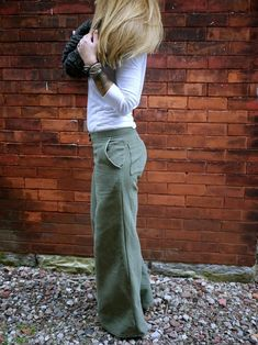 Green Grey Low Rise Wide Leg Cotton Women's Pants with Pockets Looks Style, Style Me, Retro Fashion, Korean Fashion, Boho Fashion, Style Fashion, High Fashion, Vintage Fashion, Vetement Fashion