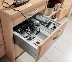 #kitchen GOOD IDEA!   Love the outlets in the drawer!