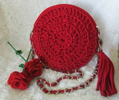 Round Bag made by me magic ring,chain,and double crochet. t-shirt yarn