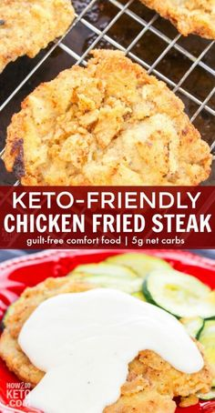 A comfort food classic done low-carb! Keto Chicken Fried Steak is a home-cooked favorite and now you can enjoy it guilt-free! A comfort food classic done low-carb! Keto Chicken Fried Steak is a home-cooked favorite and now you can enjoy it guilt-free! Chicken Fried Steak, Making Fried Chicken, Fried Chicken Recipes, Cooked Chicken, Low Carb Fried Chicken, Keto Chicken Thigh Recipes, Chicken Soup, Keto Foods, Ketogenic Recipes