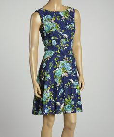 Loving this Navy & Turquoise Floral Sleeveless Dress on #zulily! #zulilyfinds