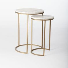 Round Nesting Side Table Marble Antique Brass
