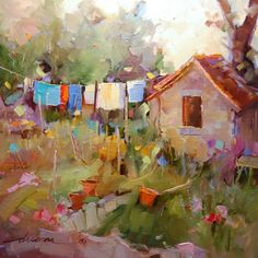 Single Tasking in France, painting by artist Dreama Tolle Perry