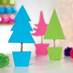 DIY Painted Wood Trees Holiday Decor