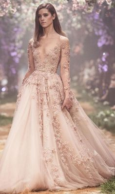 Tulle ball gown with 3D floral embroidery long sleeveless deep v neckline heavy embellishment a line wedding dress #wedding #weddingdress #weddinggown