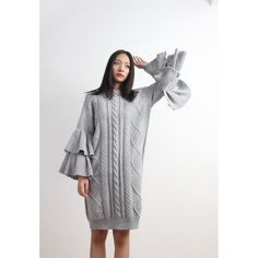 Ruffle Sleeves Chunky Textural Oversized Knit Dress