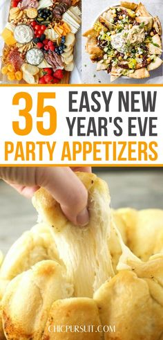 35 Easy New Year's Eve Party Appetizers To Ring In 35 Eas. 35 Easy New Year's Eve Party Appetizers To Ring In 35 Easy Party Appetizer Best Party Appetizers, New Year's Eve Appetizers, Fingerfood Party, Vegetarian Appetizers, Appetizer Recipes, Vegetarian Recipes, Desserts For A Crowd, Food For A Crowd, Party Desserts
