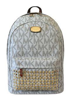 Michael Michael Kors Large Printed Mk Studded Jet Set Item Backpack Vanilla 57845f9c76346