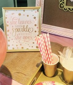 She leaves a little sparkle everywhere she goes...sweet and shabby chic details surround this party. Burlap first year banner, hot tea bar and beautiful elements of pink and gold throughout. www.simplyperfectpartiesco.com.
