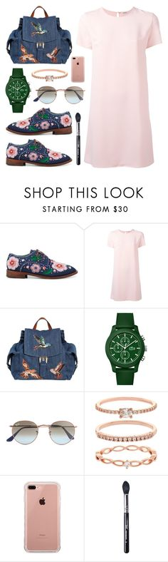 """""""Denim Embellished Brogues"""" by anyasdesigns ❤ liked on Polyvore featuring Anouki, P.A.R.O.S.H., RED Valentino, Lacoste, Ray-Ban, Accessorize, Belkin and Sigma"""