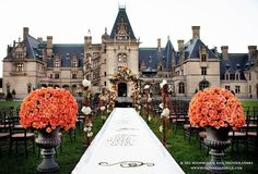 Biltmore Castle in Asheville, NC | Photography: Woodward & Rick Photographers. Read more: https://www.insideweddings.com/news/planning-design/castle-wedding-venues-in-the-united-states/1390/.