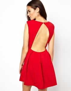 Glamorous Structured Skater Dress With Open Back