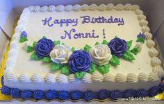 Purple & White Roses Birthday Cake