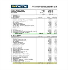 Construction Budget Templates U2013