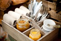 This wooden trug is ideal for holding napkins, cutlery and condiment jars. Hire Society's cutlery.