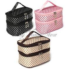 Beauty-Case-Valigetta-Borsa-Polka-Dot-Scatola-da-Viaggio-Trucco-Make-Up-Bag
