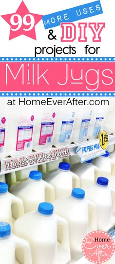 99 More Uses for Plastic Milk Jugs & #DIY Milk Jug Projects at Home Ever After.  http://www.homeeverafter.com/99-more-uses-for-plastic-milk-jugs-diy-milk-jug-projects/  #homeeverafter #frugal #milkjugs